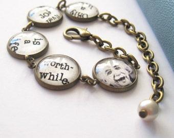 Albert Einstein Quote Antique Brass Bracelet