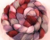Merino Handpainted  Wool Top - Claret
