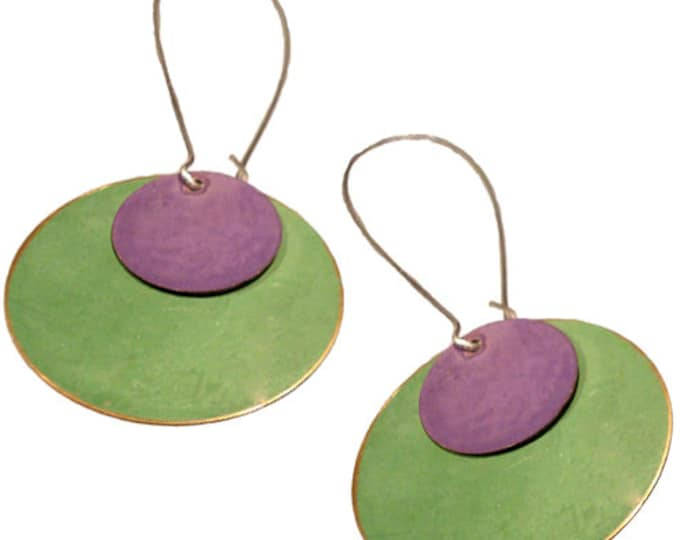 Brass Patina Round Earrings in Purple and Lime