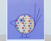 Sewn bird card, spike in purple and multi-coloured spots
