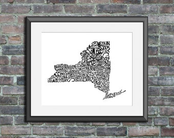 New York typography map art print 8x10 customizable personalized custom state poster wall decor engagement wedding housewarming gift