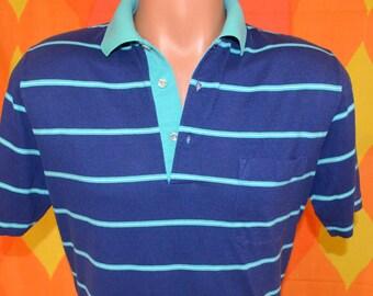 vintage 70s polo golf shirt JANTZEN navy green striped preppy Small Medium soft thin 80s