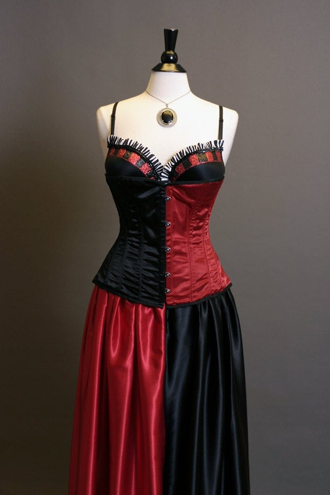 Harley Quinn Inspired Corset Ball Gown Cosplay Costume Dress