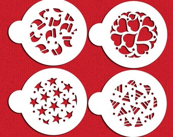 Year Round Holidays Stencil Set for Cookies, Cakes & Cupcakes - Designer Stencils (C368) Stars, Heart, Candy Corn, Santa Hats, face painting