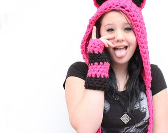 set Cat Hood scarf hat chunky animal Emo festival vegan fingerless gloves hot pink and black