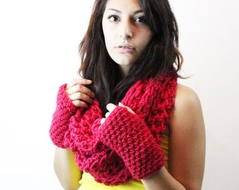 SET Favorite Cowl and fingerless gloves hood scarf circle eternity boxing glove red