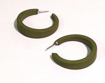 Pea Green Hoops   Green Hoop Earrings in Matte Finish   Vintage Retro Hoop Earrings