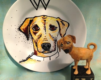 Custom Porcelain Hand Painted Dog Plate for Birthday Special Occasion Wedding or Engagement Gift