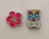 Floating charms for memory lockets - tropical flower, tiki face