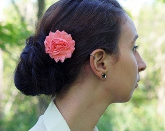 Salmon Shabby Flower Hair Clip