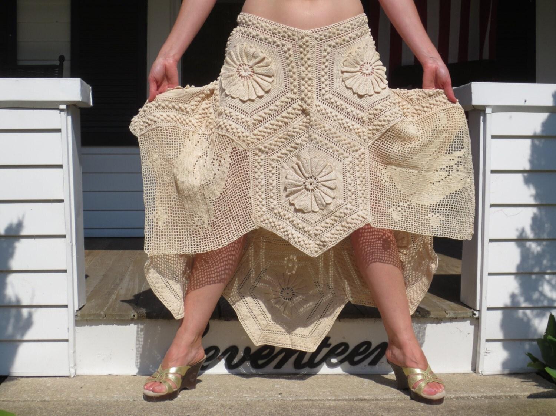 bohemian hi low crochet lace maxi skirt