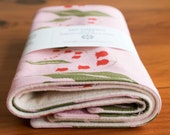 Organic Burp Cloth, Set of Two in LILY (Last Set), Pink Lily of the Valley Spit Happens Burp Cloths Gift Set of 2 by Organic Quilt Company