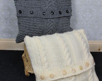 KNITTING PATTERNS  for 2 Chunky Cable  Cushion Covers PDF 268 Digital Download