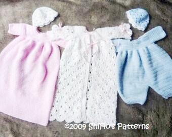 CROCHET PATTERN For Baby Boy & Girl Christening Suit, Dress, Cap PDF 120 Digital Download