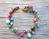 Spring sparrow knotted bracelet with gemstones, with rubies, jade, sapphire, natural, organic, cottage, comfortable wear, boho jewelry,