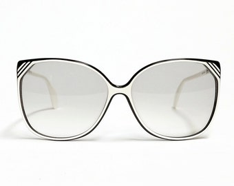 Vintage SILHOUETTE Sunglasses, oversized sunglasses in white and black, 1980s unworn deadstock sunglasses