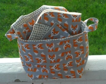 Fox Gift Set, Baby Gift Set, Fabric caddy, Bin, Orange, Gray, Baby Bib, Free Baby washcloths, Burp Cloth,Picture Pie, Eco- Friendly, Organic