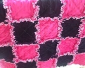 PINK AND BLACK Sweet and Funny baby girl security rag quilt all chenille