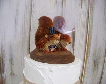 Wedding Cake Topper with Squirrels, Squirrel Cake Topper, Rustic Cake Topper, Bride and Groom Wedding Topper-Animal Cake Topper,