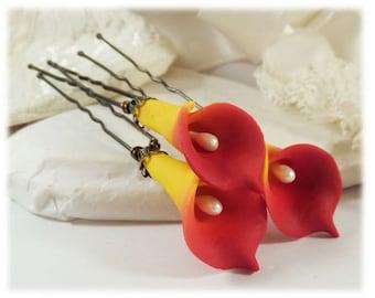 Sunrie Flame Orange Calla Lily Hair Pins