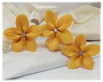 Gold Hair Flowers - Gold Flower Hair Pins, Gold Wedding Hair Flowers