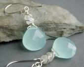 Aqua Chalcedony Earrings Sterling Silver, Genuine Rainbow Moonstone, Wirewrapped Gemstone Briolette Dangle, Pale Blue Earrings