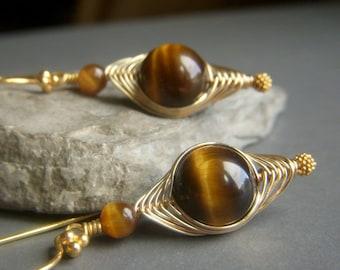 Tigers Eye Herringbone Earrings 14k Goldfill, Wirewrapped Golden Brown Gemstone Woven Dangle, Gold Filled Weave Earrings