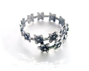 Closeout ANTIQUE SILVER Ring Floral Wrap Delicate Flower Ring ~ Antique Silver Adjustable Statement Ring (RF-1)