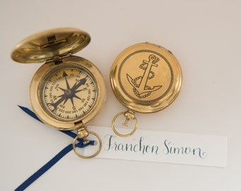 Gold Anchor Compass Place Card WITHOUT calligraphy