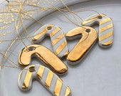 Mini Candy Cane Decoration Set, 5 real gold lustre porcelain Christmas ornaments