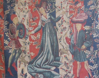 Price Slashed Vintage 1960's French Tapestry Baillee des Roses, 15th Century Reproduction Ships Worldwide Was 374.99 Now 299.99