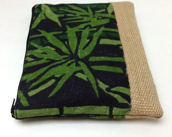 Clutch Purse, Free Personalization - Green Bamboo on Black, Burlap Panel