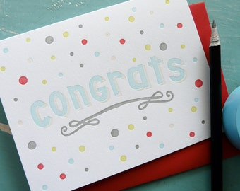 Congrats Letterpress Note Card