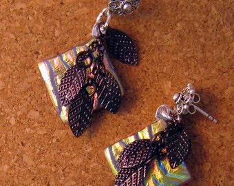 Lavender Dichroic Earrings - Fused Glass Earrings - Fused Glass Jewelry - Dichroic Jewelry Copper Leaf Earrings