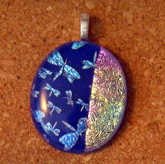 Fused Dichroic Glass Dragonfly Pendant, Dichroic Dragonfly, Fused Glass Jewelry