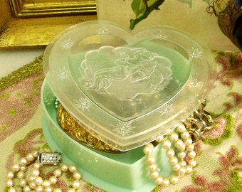 Vintage CUPIDO cherub heart jewerly box