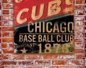 Chicago Cubs BaseBall Club sign art original illustration  graphic art  on gallery wrapped canvas by Stephen Fowler