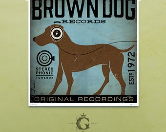 Brown Dog Chocolate Lab records illustration graphic artists signed giclee print by Stephen Fowler
