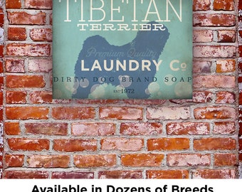 Tibetan Terrier Laundry Company illustration graphic art on canvas by stephen fowler