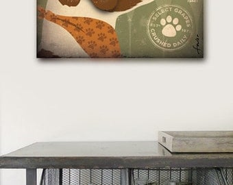 Brittany Spaniel Winery graphic illustration artwork on gallery wrapped canvas by stephen fowler
