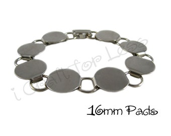 Disk / Loop Bracelet Blank Chunky 7.5 Inch with 16mm Glueable Pads - SEE COUPON