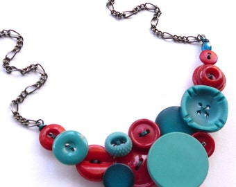 Bright Red and Aqua Blue Vintage Button Statement Necklace - Funky Chunky Jewelry