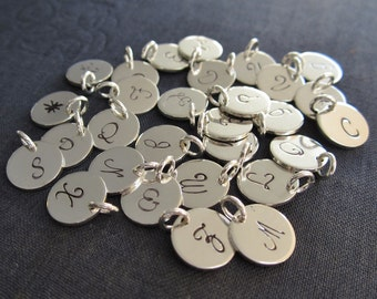 Individual 9mm sterling silver initial disc charms