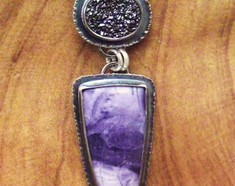 Tiffany Stone, Black Drusy, Sterling Silver Necklace OOAK