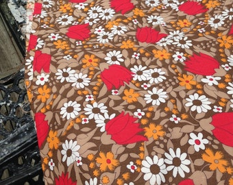 Vintage Fabric 3 yards Upholstery Weight Floral Brown Tan White Red and Orange