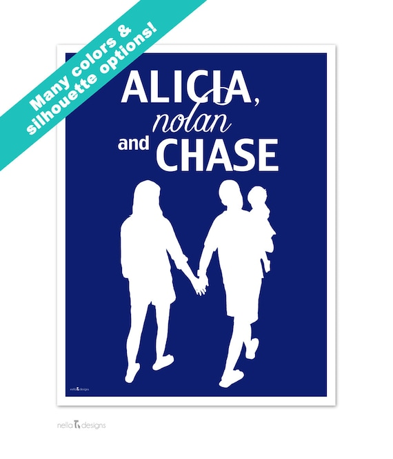 Custom Family Silhouette, Family Name Sign, Family Silhouettes, Personalized Family Prints
