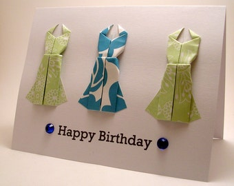 Mini Origami Dress Birthday Card (pale green blue)