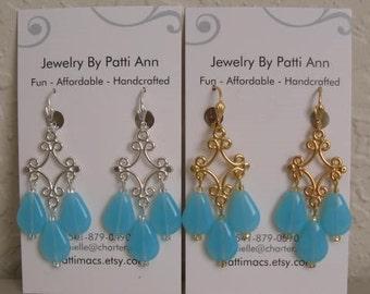 Chandelier Drop Dangle Earrings - Milky Blue