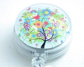 Colorful Tree on Clear Badge Reel Magnetic Retractable ID Badge Holder