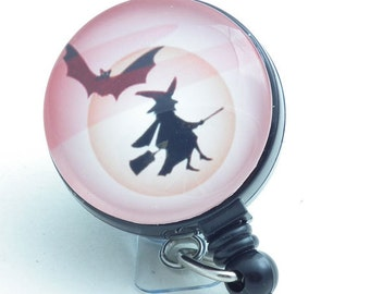 Halloween  Badge Reel - Witch on a Broom with Bat,  Badge Holder - 152